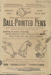 Advertisement for a ball point pen